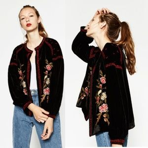 Zara Embroidered Velvet Jacket